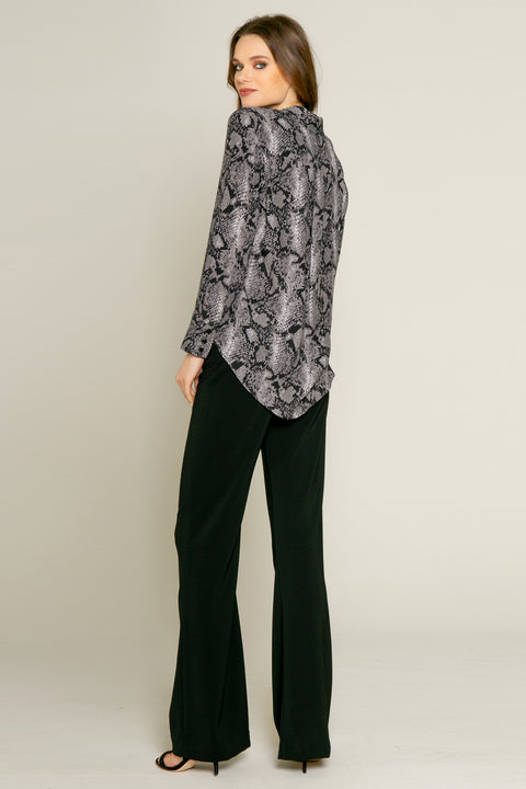 Black Snakeskin Print Button Down Shirt by Lavender Brown 002