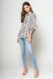 Snake Printed Button Down Blouse 1
