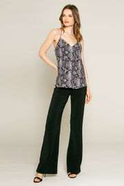 Black Snakeskin Print Cami Top by Lavender Brown 001