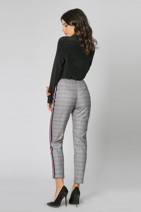 Black & White High Waisted Plaid Pants by Lavender Brown 002