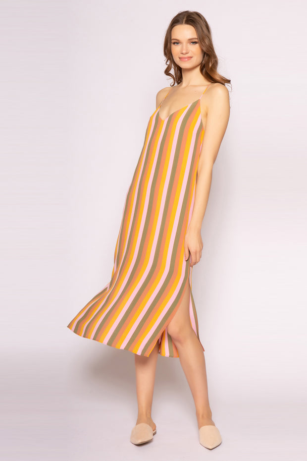 Pink Striped Racerback Midi Dress With Side Slits by Lavender Brown 001