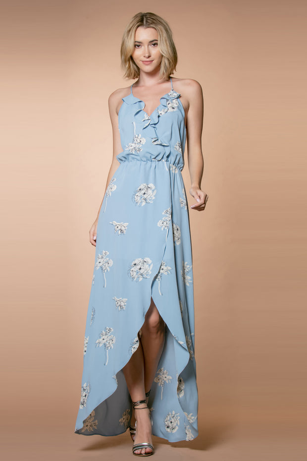 Light Blue Racerback Floral Wrap Maxi Dress by Lavender Brown 001