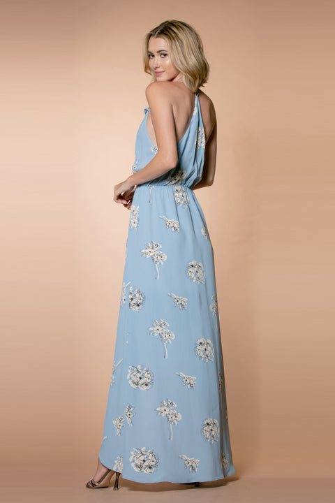 Light Blue Racerback Floral Wrap Maxi Dress by Lavender Brown 002