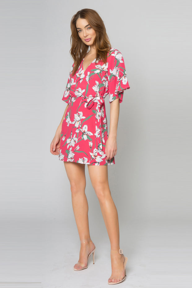 Raspberry Short Sleeve Floral Wrap Dress by Lavender Brown 001
