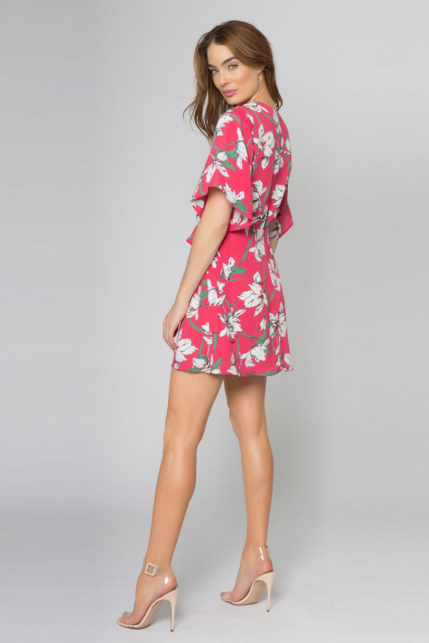 Raspberry Short Sleeve Floral Wrap Dress by Lavender Brown 002