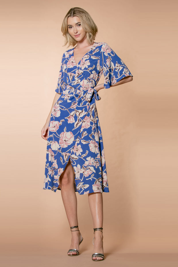 Blue Short Sleeve Floral Midi Wrap Dress by Lavender Brown 001
