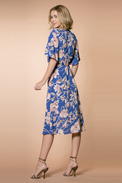 Blue Short Sleeve Floral Midi Wrap Dress by Lavender Brown 002