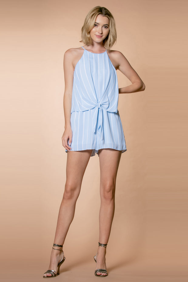 Ligth Blue Striped Sleeveless Overlay Romper by Lavender Brown 001