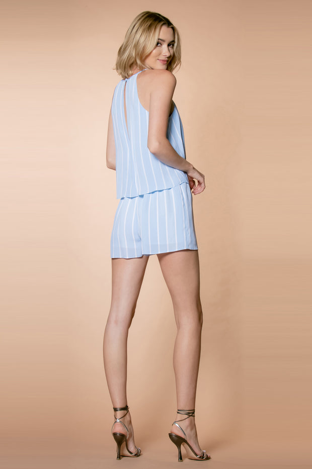 Ligth Blue Striped Sleeveless Overlay Romper by Lavender Brown 002