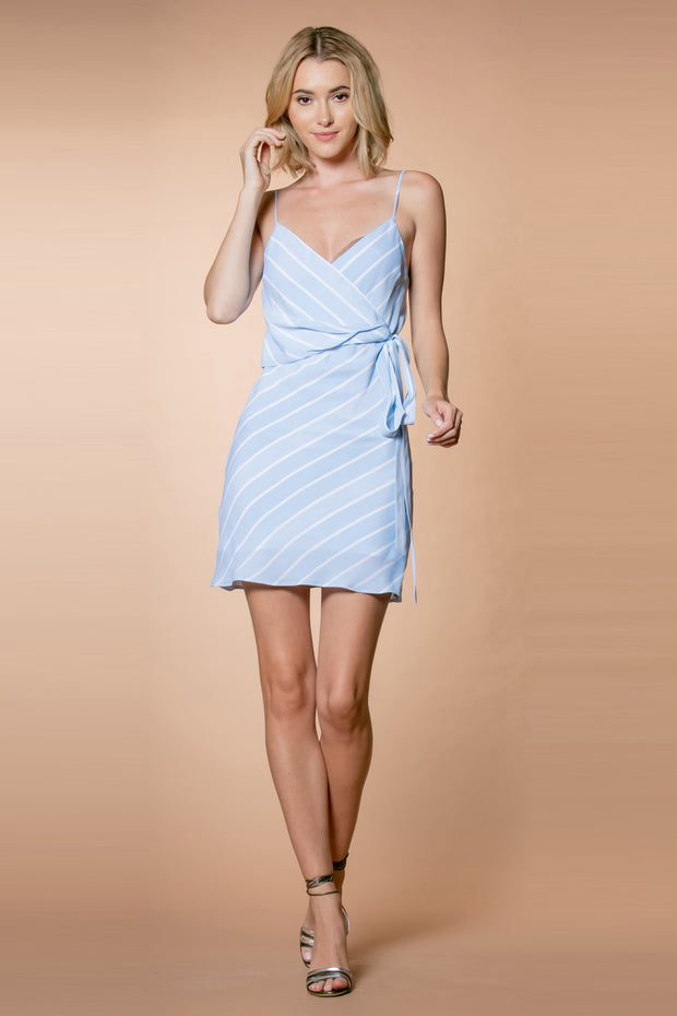 Light Blue Striped Tie Waist Slip Dress by Lavender Brown 001