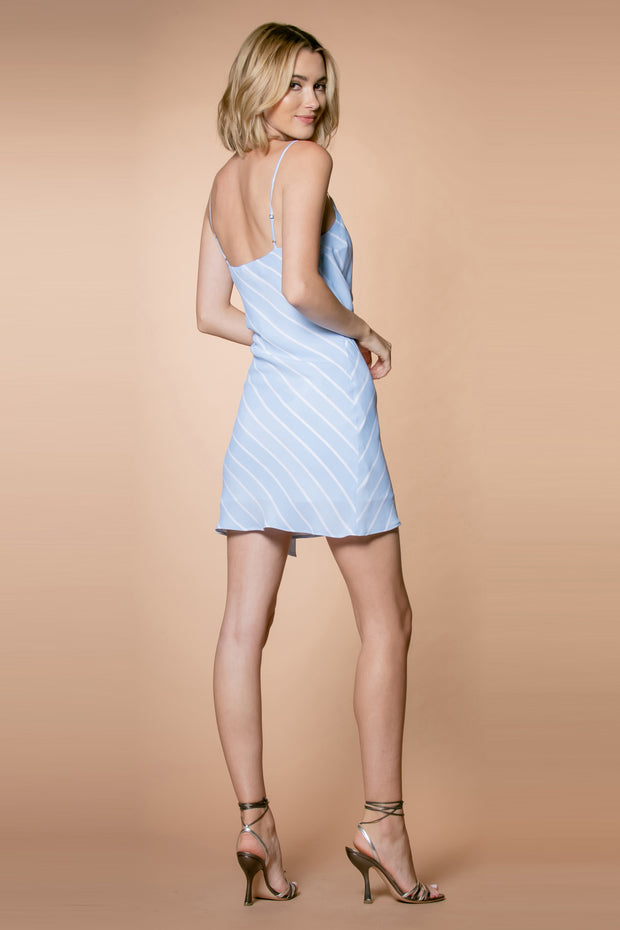 Light Blue Striped Tie Waist Slip Dress by Lavender Brown 002