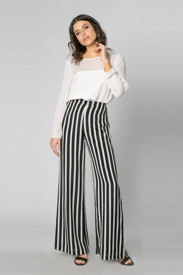 Black & White Striped Wide Leg Pants by Lavender Brown 001