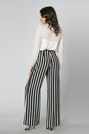 Black & White Striped Wide Leg Pants by Lavender Brown 002