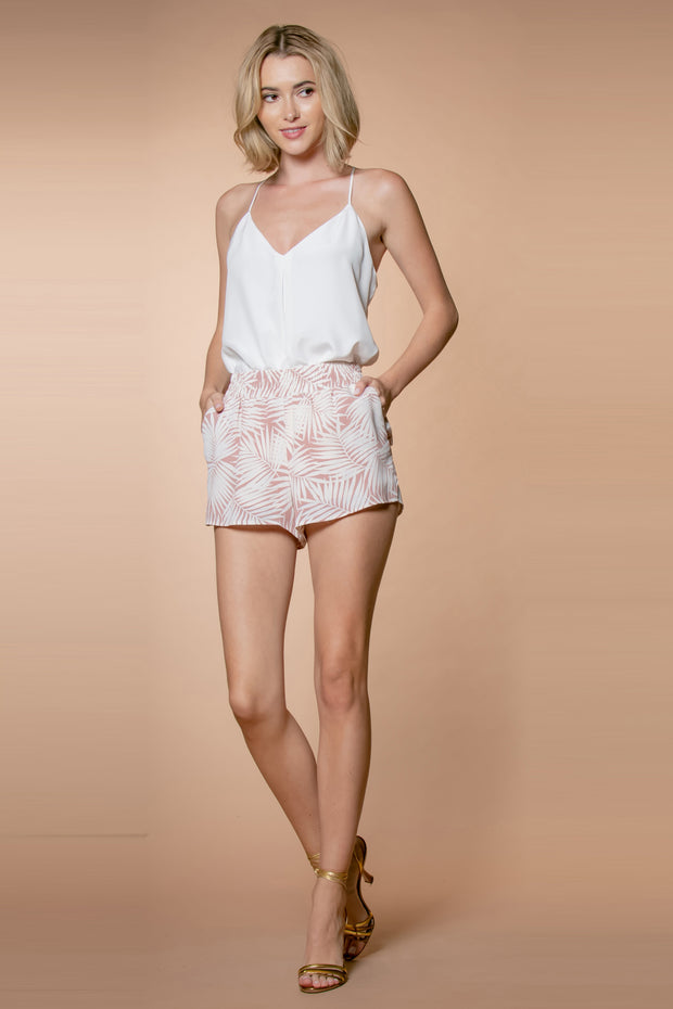 Mauve Floral Pull-on Shorts With Pockets 001