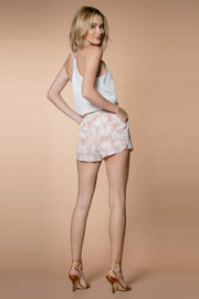 Mauve Floral Pull-on Shorts With Pockets 002