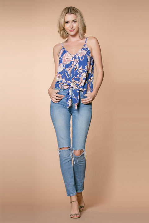 Blue Tie-Waist Floral Snap Front Tank Top by Lavender Brown 001
