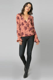 Mauve Long Sleeve Ruffle Floral Wrap Top by Lavender Brown 001