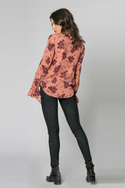 Mauve Long Sleeve Ruffle Floral Wrap Top by Lavender Brown 002