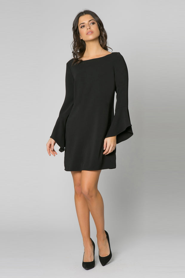 Black Long Sleeve Jewel Neck Dress by Lavender Brown 001