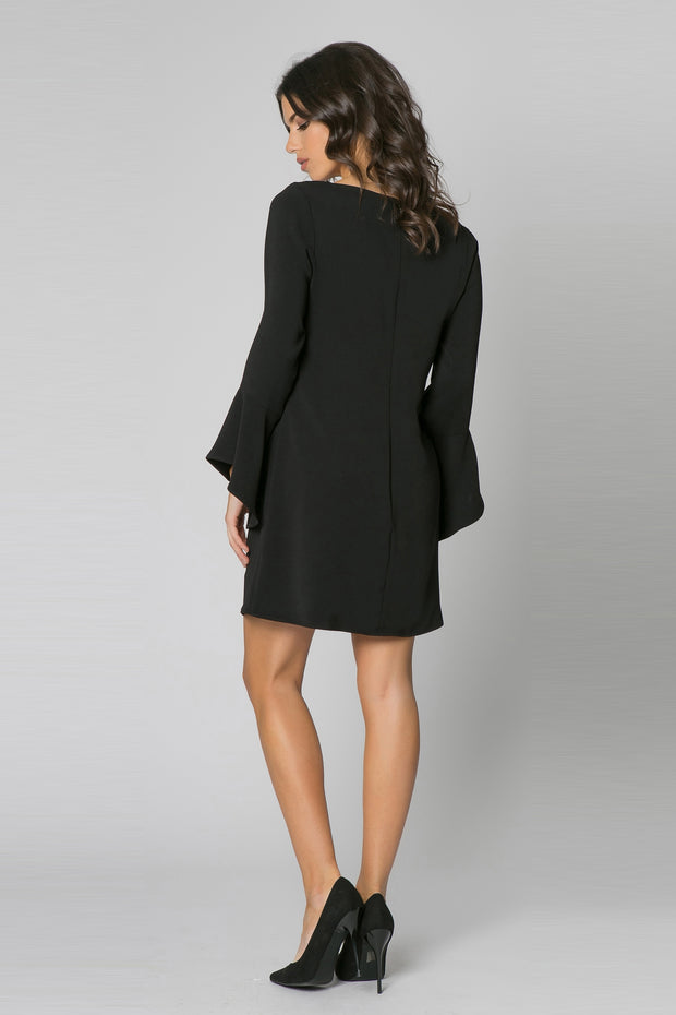 Black Long Sleeve Jewel Neck Dress by Lavender Brown 002