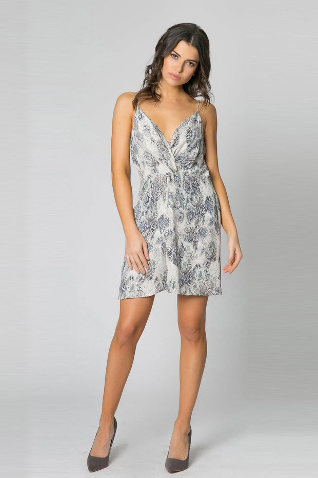 Charcoal Snakeskin Wrap Dress by Lavender Brown 001
