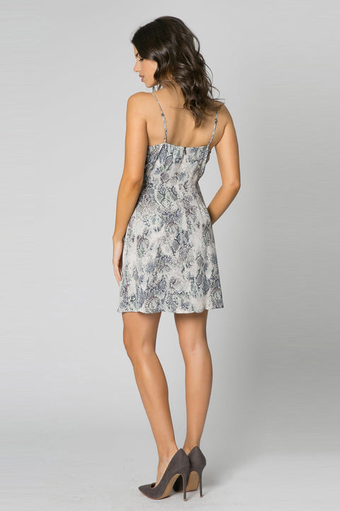 Charcoal Snakeskin Wrap Dress by Lavender Brown 002