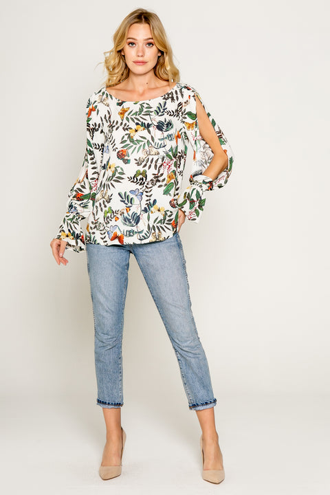 Butterfly Print Top With Slit Sleeves 1