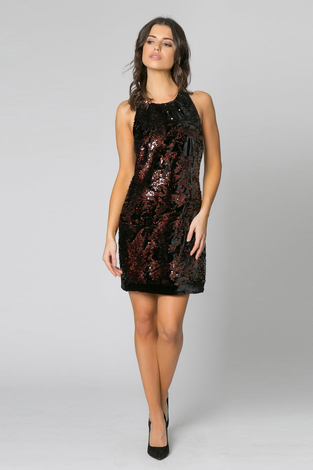 Black Sleeveless Sequin A-Line Dress by Lavender Brown 001