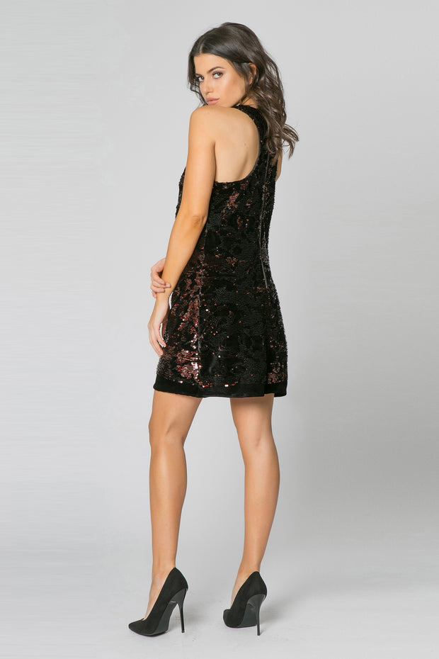 Black Sleeveless Sequin A-Line Dress by Lavender Brown 002