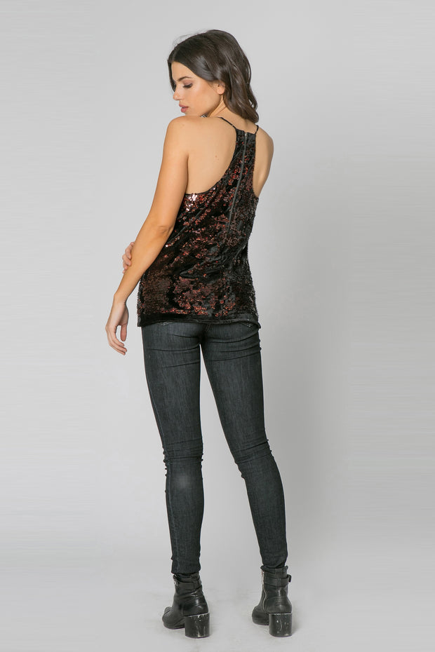 Black With Brown Racerback Sequin Cami Tank Top by Lavender Brown 002
