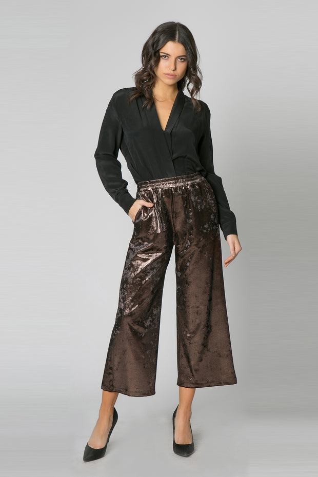 Black & Bronze Velvet Wide Leg Pants by Lavender Brown 001