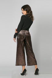 Black & Bronze Velvet Wide Leg Pants by Lavender Brown 002