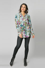 Light Blue Long Sleeve Floral Blouse by Lavender Brown 001