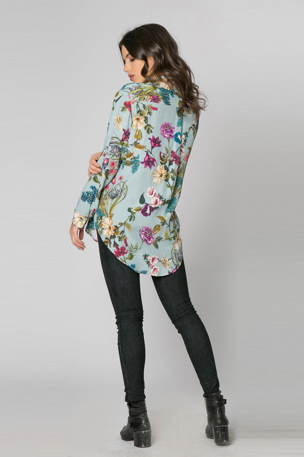Light Blue Long Sleeve Floral Blouse by Lavender Brown 002