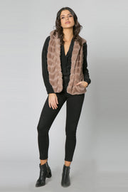 Coco Camel Chevron Fur Hooded Vest by Lavender Brown 001