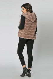 Coco Camel Chevron Fur Hooded Vest by Lavender Brown 002