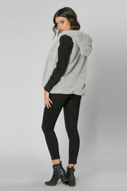 Light Grey Vegan Faux Fur Hooded Vest by Lavender Brown 002