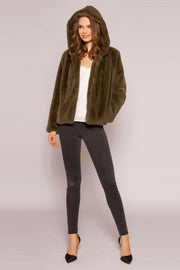 Olive Hooded Faux Fur Coat by Lavender Brown 001
