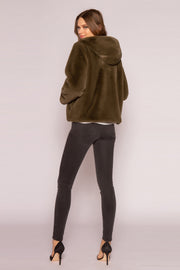 Olive Hooded Faux Fur Coat by Lavender Brown 002