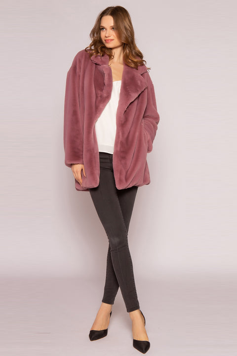 Mulberry Faux Fur Coat by Lavender Brown 001