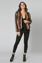 Brown Ombre Fur Jacket by Lavender Brown 001
