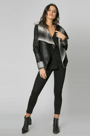 Black Bonded Fur Jacket by Lavender Brown 001
