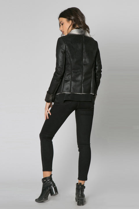 Black Bonded Fur Jacket by Lavender Brown 002