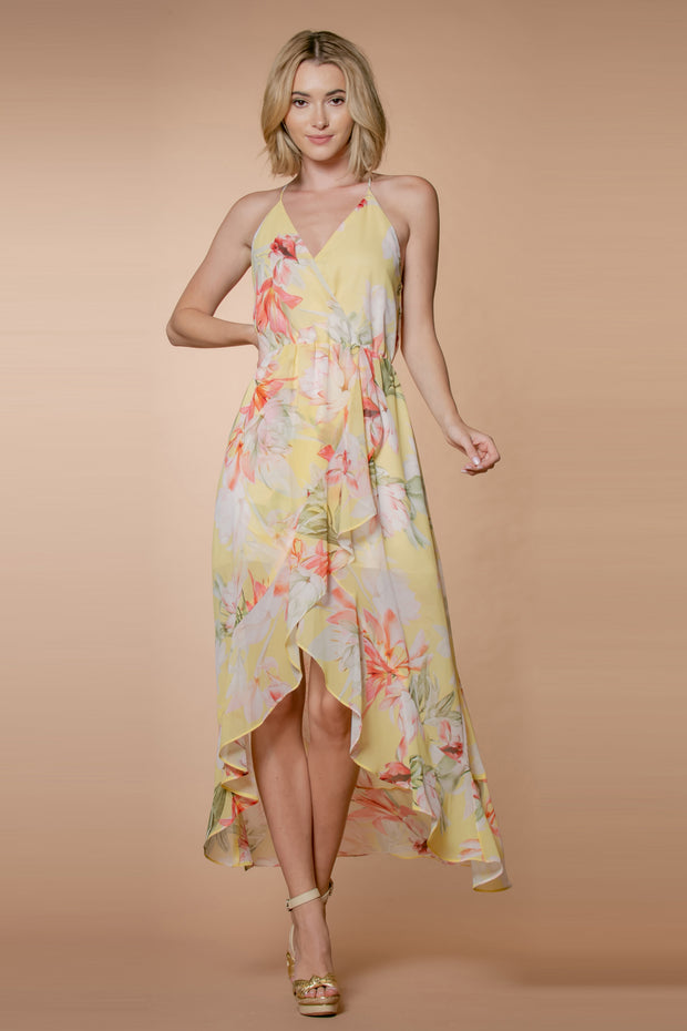 Yellow Floral Ruffle Wrap Maxi Dress by Lavender Brown 001