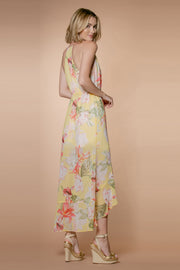 Yellow Floral Ruffle Wrap Maxi Dress by Lavender Brown 002