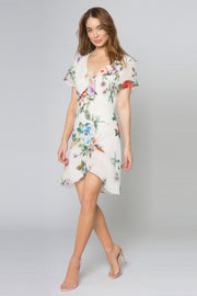 Ivory Short Sleeve Floral Ruffle Dress by Lavender Brown 001