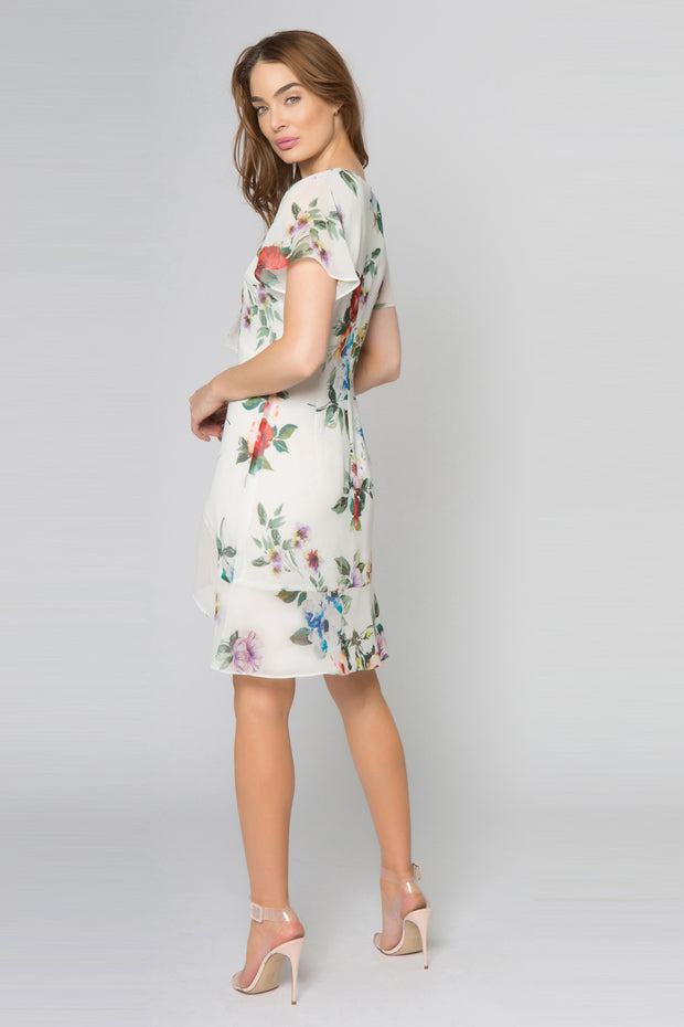 Ivory Short Sleeve Floral Ruffle Dress by Lavender Brown 002