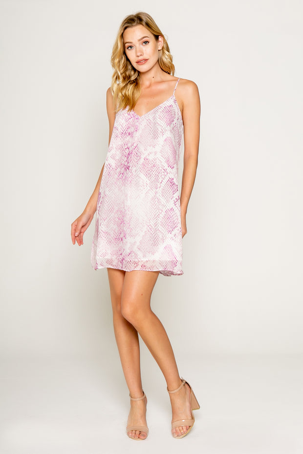 PINK SNAKE PRINTED SPAGHETTI STRAP MINI SLIP DRESS