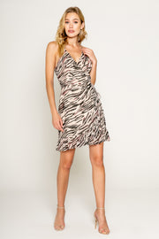 Zebra Printed Ruffle Hem Wrap Dress 1