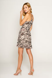 Zebra Printed Ruffle Hem Wrap Dress 2